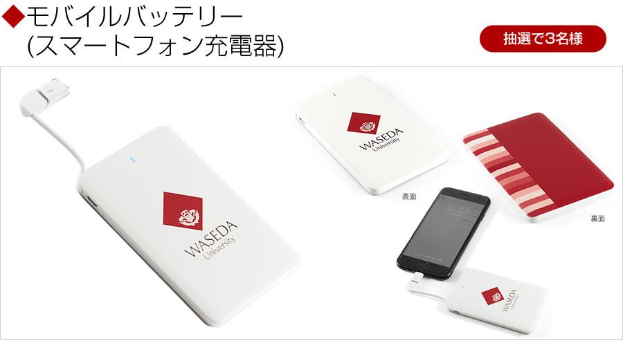 早稲田大学オリジナルグッズ「モバイルバッテリー」